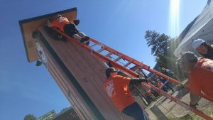 May 11, the Home Depot provided 200 volunteers and built all of the interior walls in one day as well as landscaping and demo.